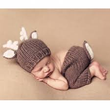 newborn props brown deer two sets baby clothes velvet knitting photography props