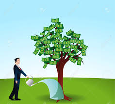 watering a money tree royalty free cliparts vectors and