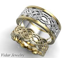 celtic wedding ring sets unique celtic matching wedding ring set vidar jewelry unique