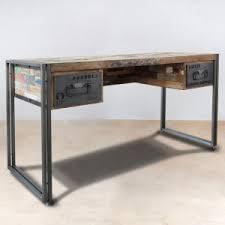 bureau bois bois recyclé 2 tiroirs 120x60 caravelle