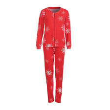 Women Snowflake T shirt Tops Pants Zipper Pajamas Christmas Set