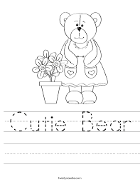 cutie bear worksheet twisty noodle