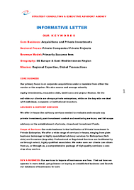 Business Acquisition Letter Of Intent by Informative Letter For Global Capital Raise