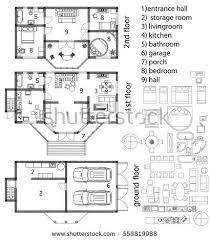 Floor Plan View Architecture Plan Top View Vector Illustration Stock Vector