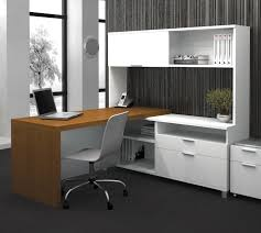 L Desk With Hutch by L Shaped White Polished Wooden Double Desk For Home Office With L