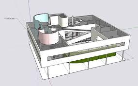villa savoye floor plan sketchup 3d architecture models villa savoye le corbusier cad