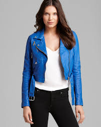 leather moto jacket michael michael kors cropped leather moto jacket in blue lyst