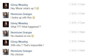 Memes Facebook Chat - harry potter funny facebook chat hermione granger and ginny weasley