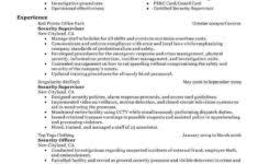 sample resume for security guard no experience and security