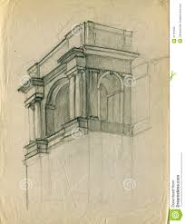 entrance of the old theater building pencil sketch royalty free