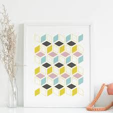 mid century geometric design print by pumpkin u0026 posey