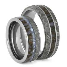 titanium rings images Meteorite wedding band set with matching dinosaur bone titanium jpg