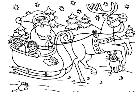 santa and reindeer coloring page santa flying with reindeer