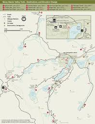 Map With Labels Hiking Many Glacier Glacier National Park U S National Park