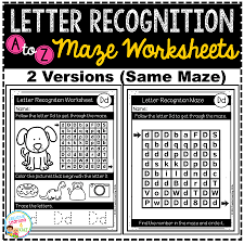 letter recognition maze worksheets digital download
