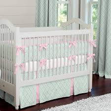 Gray And Pink Crib Bedding Mint And Pink Quatrefoil Crib Bedding Carousel Designs