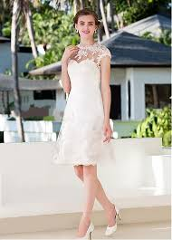 knee length wedding dress buy discount glamorous alencon lace a line neckline