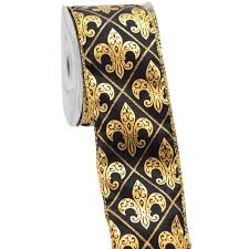 black and yellow ribbon 2 5 black gold harlequin fleur de lis ribbon 10 yards rw549386