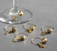 the emily meritt metallic jingle bells wine charms set of 6