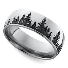 Mens Wedding Ring by Laser Carved Forest Pattern Mens Wedding Ring In Cobalt For