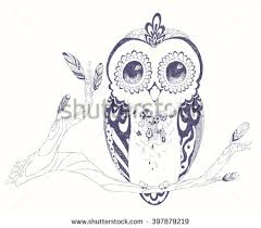 Patterned Flying Owl Drawing Illustration Patterned Boho Owls Vector Free Vector Stock