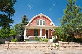 Dutch Colonial Architecture Dutch Colonial Clapboard House Home Santa Fe New Mexico Stock