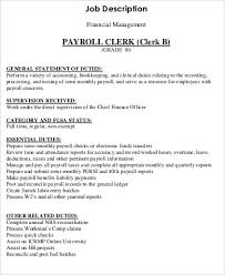 Accounting Assistant Job Description Resume by Payroll Job Description Job Performance Evaluation Payroll