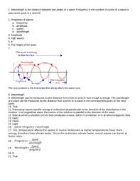 of waves worksheet review sheet or quiz with answer key