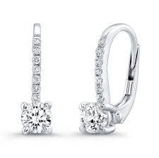 leverback diamond earrings 0 54ct cut diamond leverback earrings bead set on 18k white gold