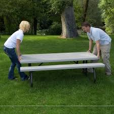 Folding Picnic Table With Benches 6 Ft Folding Picnic Table 10 Pack Putty