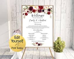 wedding poster template wedding program poster etsy
