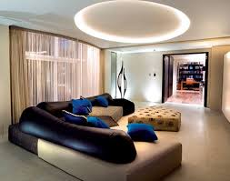 interior beautiful black and beige leather sofa with blue accent