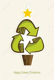 green recycle symbol christmas tree in cartoon style vector
