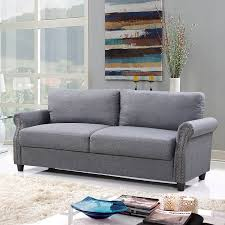 amazon com classic living room linen sofa with nailhead trim