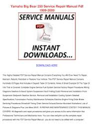 yamaha big bear 250 service repair manual pdf by willisvoigt issuu