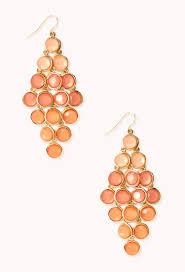 gunmetal chandelier earrings forever 21 standout ombr u0026eacute chandelier earrings in orange lyst