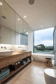 modern white bathroom vanity frameless mirror round glass ceiling
