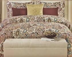 tahari home vibrant boho paisley medalllion duvet cover set 400tc