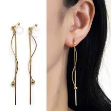 invisible earrings threader invisible clip on earrings gold clip on earrings dangle