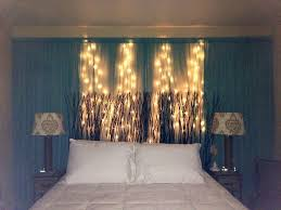 Curtains For Headboard Bedroom Elegant Diy Curtain U0026 String Lights Behind Headboard On
