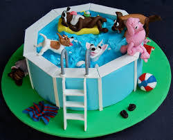 dog pool party cake flickr