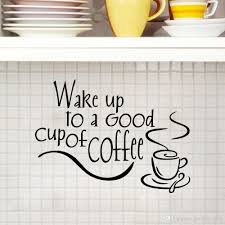 wake up to a good cup of coffee decor vinyl wall decal quote