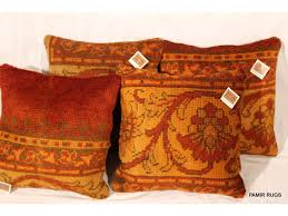 set of two decorative handmade pillows made out of antique oushak
