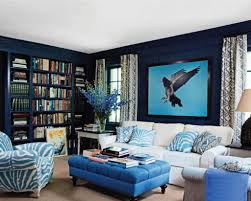 dark blue accent wall living room bold table and blue dark blue