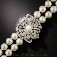 diamond pearl necklace images Mid century double strand cultured pearl necklace with diamond clasp jpg