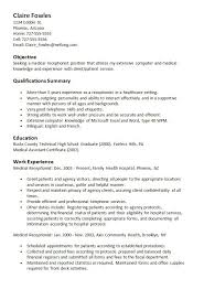 medical receptionist resume cover letter executive performance