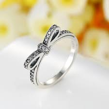 unique engagement rings for women pandora style silver rings with cubic zirconia sparkling bow