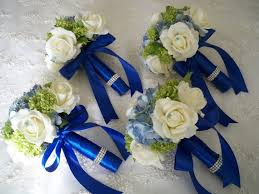 wedding flowers royal blue royal blue silver and white roses 13 pieces made to order brides