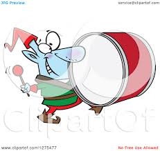 cartoon clipart of a happy christmas elf marching and playing the