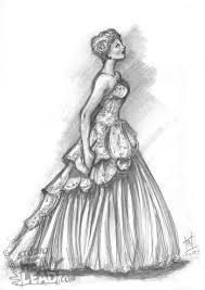 dresses drawings following on an earlier theme of big poofy